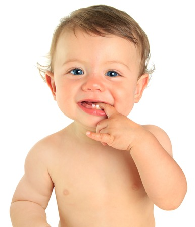 cute baby boy: Adorable ten month old baby boy. Stock Photo