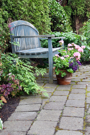 Rustic Garden Bench And Pink Geraniums Stock Photo   58553600