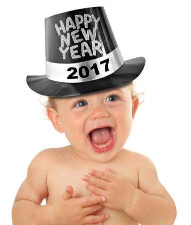 幸せな新しい年赤ちゃん少年、白で隔離スタジオ。2017