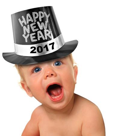 kapelusze: Krzycząc Happy New Year chłopca. 2017 Zdjęcie Seryjne