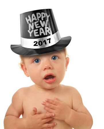 new baby: Cute Happy New Year Baby studio isolated on white. 2017