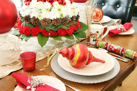 dining table and chairs: Festive Christmas table setting