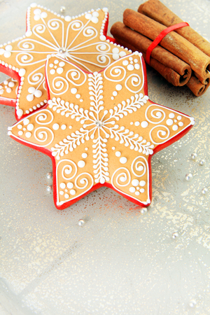 professionally: Professionally decorated Shortbread sugar cookies for Christmas. Stock Photo