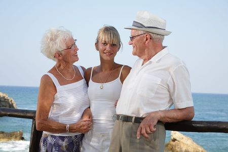 proud grandparents smiling at their granddaughter Stock Photo - 3400040