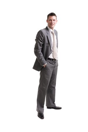 young businessman isolated on white background, lots of copyspace. Stock Photo - 3408152