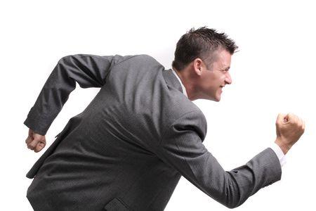 concurrencer: rat race! -- Attrayantes jeune homme d'affaires pr�ts � affronter la concurrence  Banque d'images