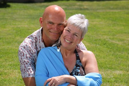 fulfilled: happy mature couple outdoors