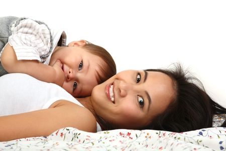 motherhood: happy mother with  over white