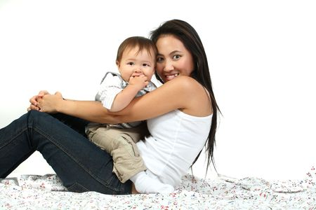 young happy mother with  over white photo