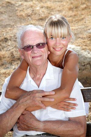 granddad: granddad and granddaughter Stock Photo