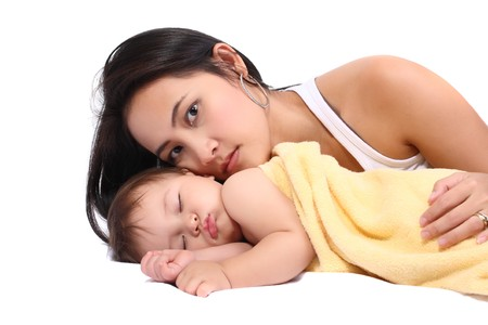 bright portrait of young mother with baby