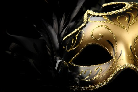 black silk: ornate carnival mask over black silk background Stock Photo