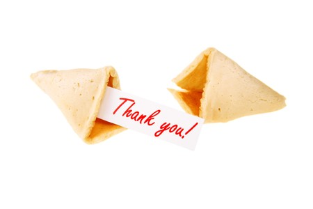 THANK YOU! - backlit single fortune cookie over white photo