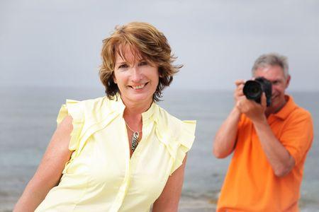 beautiful mature woman posing for her husbands photos photo