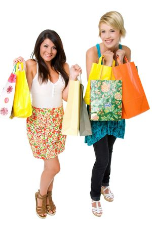 Two beautiful young women shopping. photo