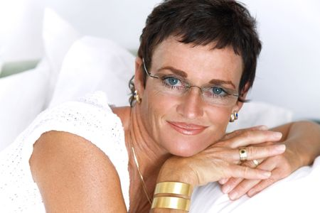Beautiful mature woman smiling photo