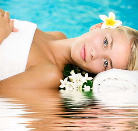 Beautiful young woman in spa Stock Photo - 5655157