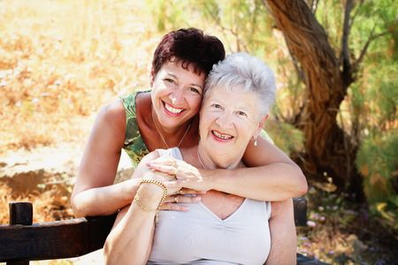 mum and daughter: Beautiful senior mother and daughter Stock Photo