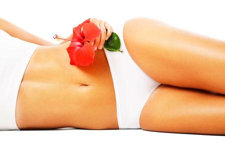 Beautiful female body. Isolated over white background. photo