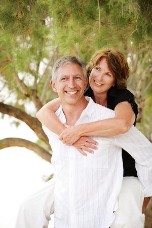 Beautiful mature couple having fun Stock Photo