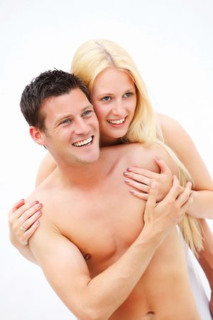 love hot body: Young happy couple. Shallow DoF with focus on the man. Stock Photo