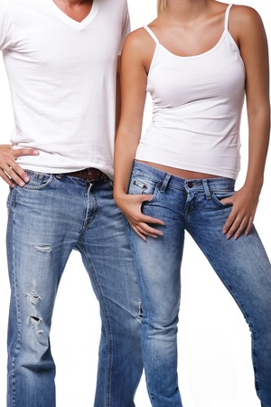 Sexy young couple. Isolated over white background. Banque d'images
