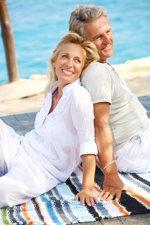 Happy mature couple outdoors photo