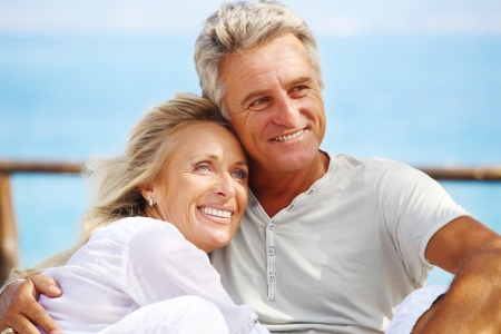 mature couple: Happy mature couple outdoors Stock Photo