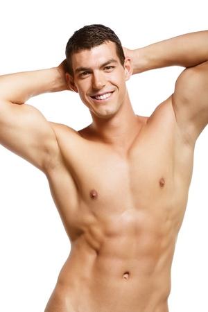 nudo maschile: Sano giovane muscolare. Isolato su sfondo bianco.
