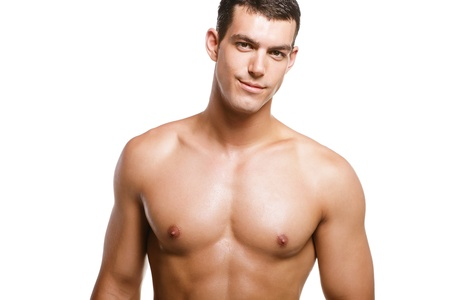 nackter junge: Gesundes muskul�s junger Mann. Isolated on white Background. Lizenzfreie Bilder