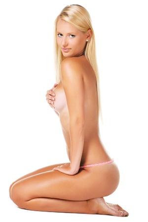 sexy girl nue: Belle jeune femme isol�e sur fond blanc