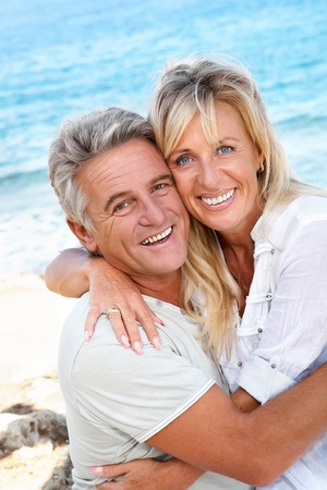 an old couple: Portrait of a happy romantic couple outdoors. Stock Photo