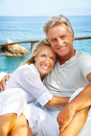 older couples: Portrait of a happy romantic couple outdoors. Stock Photo