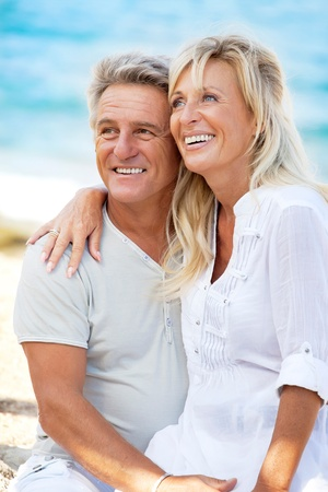 mature couple: Portrait of a happy romantic couple outdoors. Stock Photo