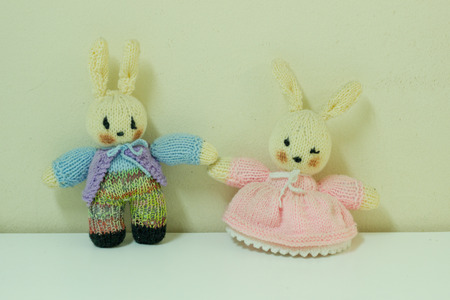 twists: Couple twists rabbit doll or The male and female rabbit doll. Stock Photo