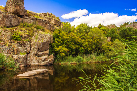 Peter and Paul canyon, Aktovo, Ukraine, rocks, water and sky