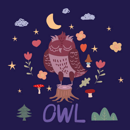 PrintOwl and set of colorful doodle mushrooms flora star moon on white background. Vector