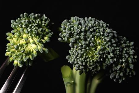 Fresh broccoli, close up, black background