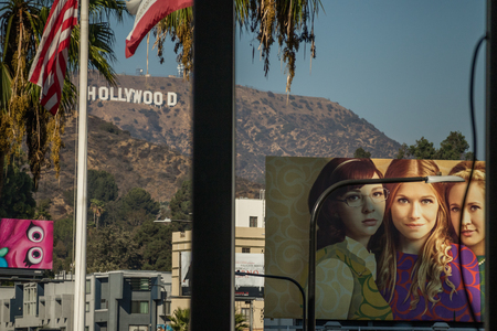 Hollywood Sign and Billboards from Hollywood Boulevard, Los Angeles, October 14, 2016