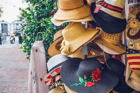Ladys Beach Sun Hats, Street Fashion Stock Photo