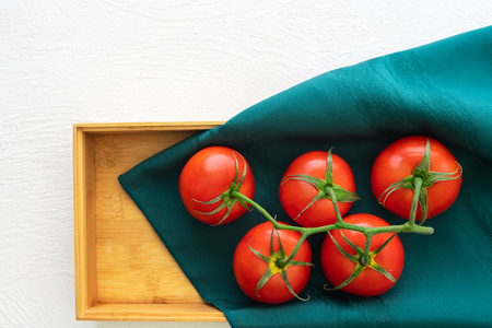 Fresh Red Tomatoes, Wooden Container, White Background, Close Up, Top View