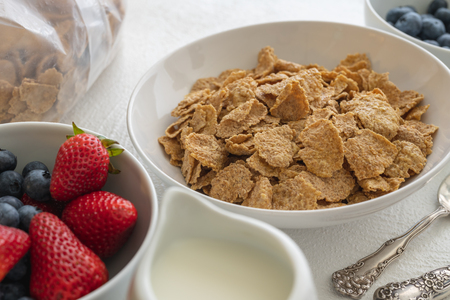 Toasted Oatmeal Flakes with Milk and Fresh Berries, Close up, in White Background.  Good Source of Fiber and Vitamins Stockfoto