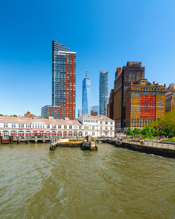 New York City. Waterfront Battery Park with Harbor View. Boat Tour Journey down the Hudson River and East River.