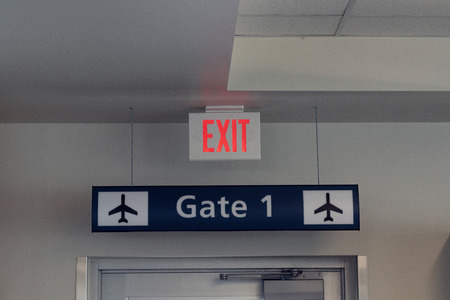 Exit and Gate board Signs at International Airport