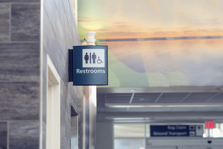 Restroom Sign in Airport Building