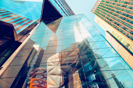 Modern Glass Building in New York City, Abstract Reflection, Architecture Banco de Imagens