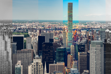 Urban Skyline in New York City, Abstract Art Background Banco de Imagens