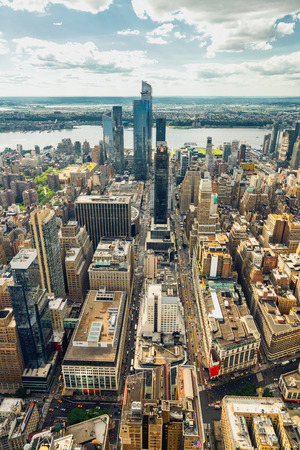 Manhattan Skyline Aerial View, Vertical Banner. New York City