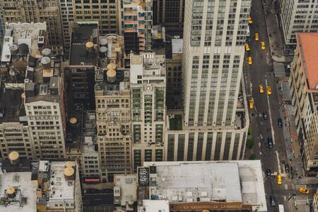New York City, Aerial View of Manhattan. Buildings, Rooftop, Traffic