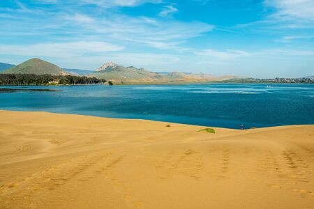 Morro Bay State Park, California. Sand Dunes, Famous Morro Rock, and Morro Bay Harbor Banco de Imagens